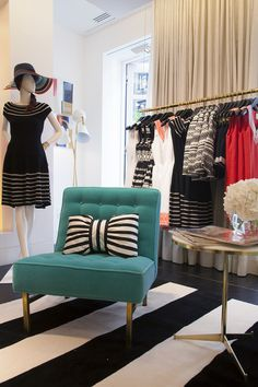 Adorable new Kate Spade flagship featuring the Black and White Stripe Tibetan rug by  #madelineweinrib