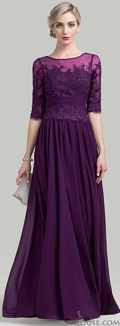 1/2 sleeves purple chiffon lace mother of the bride/groom dress…