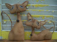 Primitive  Cats Sadie and Jinx by Rabbithollowprims on Etsy, $28.95