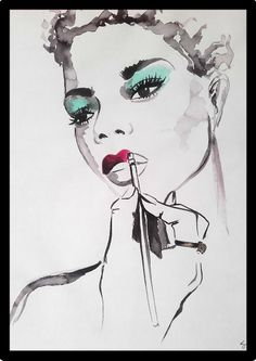 Make up Illustration with red lips painted with black ink and watercolors Makeup Illustration, Watercolor Illustration, Fashion Painting, Fashion Art, Makeup Trends, Beauty Trends, Metallica, Watercolors, Watercolor Paintings