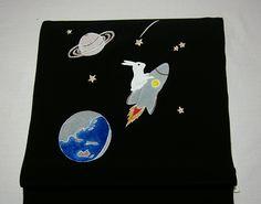 【うさぎの宇宙旅行】丹後正絹◆手描き京友禅染九寸名古屋帯地_画像1
