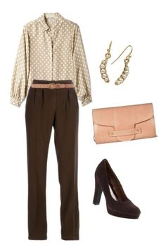 """""""My innner skinny girl loves this outfit. Again with the tucking in of shirts/ blouses.. I feel like Ms. Diane Keaton would approve of this look. """"- K"""