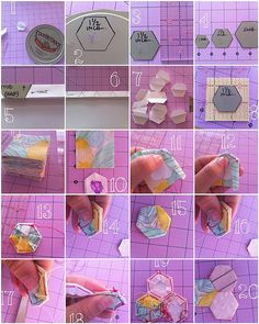 Hexi how to Quilting Tips, Quilting Tutorials, Hand Quilting, Quilting Projects, Quilting Designs, Sewing Projects, Hexagon Pattern, Hexagon Quilt, Patchwork Hexagonal