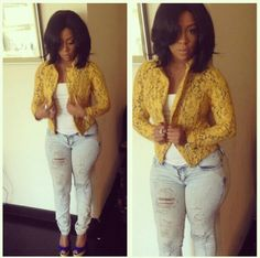 K Michelle looks gorg Blazer Outfits, Casual Outfits, Cute Outfits, Fashion Outfits, Womens Fashion, Fashion Ideas, Yellow Blazer, Look At You, Beautiful Black Women