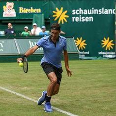 Roger Federer in action at ATP Tournament in Halle