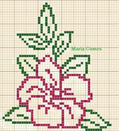 Maria Gomes: Os Meus Gráficos de Ponto Cruz Cross Stitch Rose, Cross Stitch Borders, Cross Stitch Flowers, Cross Stitch Designs, Cross Stitching, Cross Stitch Embroidery, Hand Embroidery Patterns, Christmas Embroidery Patterns, Beading Patterns