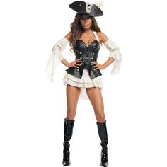 Womens Sexy Black Pearl Pirate Costume ($75) ❤ liked on Polyvore featuring costumes, halloween costumes, multicolor, sexy costumes, pirate captain costume, sexy adult costumes, captain costume and jack sparrow adult costume