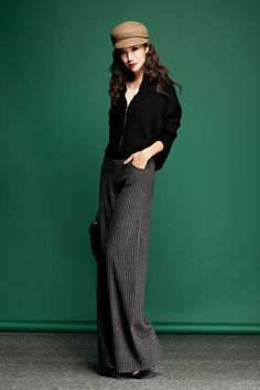 Aliexpress.com : Buy Autumn Fashion Formal Womens High Waist Wool Trousers , Winter Wide Leg Straight Woolen Flare Stripe Woolen Pants For Women from Reliable pants jean suppliers on Jeanie Deng's store. | Alibaba Group