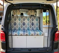 Custom design your own Achtung Camper with any colours and patterns you want! We love this super stylish blue and grey rock and roll bed! Vw Campervans For Sale, Van Conversion Campervan, Rock And Roll Bed, Used Hyundai, Portable Solar Panels, Dinosaur Design, Bike Rack, Car Wrap, Leather Design