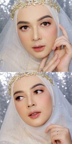 Muslimah Wedding Dress, Muslim Wedding Dresses, Bride Makeup Natural, Wedding Hijab Styles, Mode Bcbg, Make Up Pengantin, Wedding Makeup Looks, Beautiful Hijab, Dress Makeup