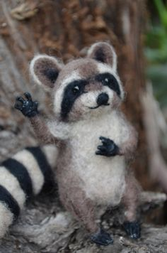 Mr. Mapache - Raccoon - My dear little friend - Needle felted animal, red fox animal, figure of collection ready to ship. $68.00, via Etsy.