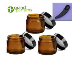24 2 Oz Amber Glass Jars Quality Empty Cosmetic by GrandParfums