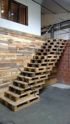 16 Best Staircase Wall Decor Ideas to Make Your Hallway Look Amazing - Stairways are one of the greatest spots in a home to hang the art. For many homeowners, the ability - Wooden Pallet Furniture, Wooden Pallets, Rustic Furniture, Furniture Ideas, Furniture Makeover, Wine Barrel Furniture, Lawn Furniture, Crate Furniture, Furniture Cleaning
