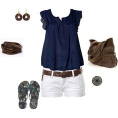 white shorts, navy blue sleeveless top & brown leather