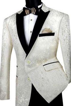 Jacket Only Regular Fit Ivory Jacket Single Breasted 2 Button Peak Lapel Floral Pattern Brocade Suits, Brocade Fabric, Groom And Groomsmen Looks, Ivory Tuxedo, Slim Fit Suits, Tuxedo Jacket, Tuxedo For Men, Floral Jacket, Fitted Suit