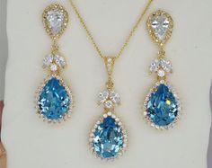 Sistema azul de Dama de honor de la joyería collar por PoetryBridal