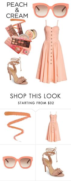 """""""Peach"""" by vintagelove1955 ❤ liked on Polyvore featuring beauty, Ellis Faas, Free People, STELLA McCARTNEY, Too Faced Cosmetics, Schutz and peachlipstick"""