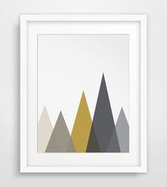 Mountain Art Mustard Prints Geometric Decor by MelindaWoodDesigns