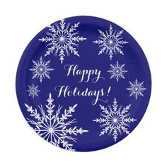 White Snowflakes on Blue Happy Holidays Paper Plate  sc 1 st  Pinterest & Red and White Christmas Pattern Paper Plates | Christmas patterns ...