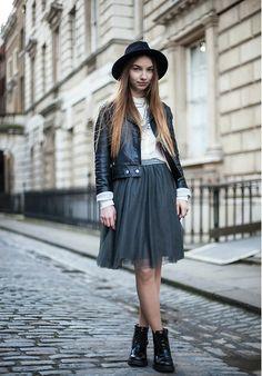 Massimo Dutti Skirt, Sportmax Leather Jacket, H&M Shirt, Jeffrey Campbell Boots, Zara Hat