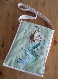 Mirabilia cross stitch mermaid made into a bag!