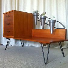 Re-purpose mid century dresser with Kurrlson hairpin legs and atomic cone planter frame - Ratrod series