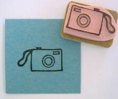 hand-carved camera stamp