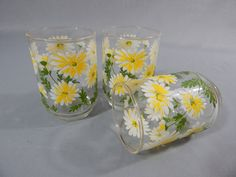 Set of 3 Vintage Daisy Glasses, Flowers, Daisies, Circa 1960s - 1970s, Libbey Glass - Yellow, White, Green by SlyfieldandSime on Etsy