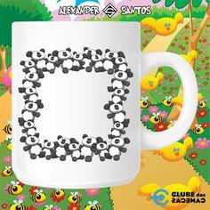 Caneca com Moldura Ilustração Personalizada para Foto - Ursinhos Panda