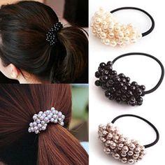 1.0AUD - Women Fashion Rope Elastic Ponytail Holder Rhinestone Crystal  Pearl Hair Band  ebay  Fashion ecb412c3e410