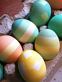 my eggs. Stripes and squares were Scotch tape. #Easter #eggs #crafts