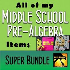 Activities for fractions, decimals, percents, integers, middle school geometry, critical thinking, and more! - Discounted bundle!  Plus, all future additions and updates are included free even as the price increases over time.