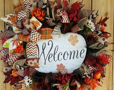 Autumn Pumpkin Mesh Wreath Fall Door Wreath by CoyoteCountryMarket