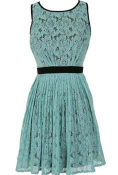 Classy Contrast A-Line Pleated Lace Dress in Mint  www.lilyboutique.com