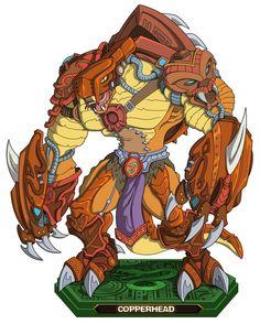 Copperhead - Antiguo comandante de los hombres serpientes, fue el mentor de Rattlor y fue eliminado por el mismo Hordak. Habilidades: - Lanzar colmillos - Garras aceradas - coraza - alargar extremidades - Gran fuerza - Habilidad en combate - Atletismo - excavar - Mudar de piel - Anfibio - Rastrear