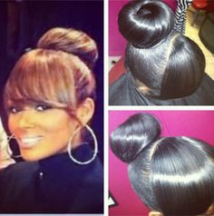 Bun with bangs.I use to wear my hair like this 25 years ago. Love Hair, Big Hair, Gorgeous Hair, Beautiful, Bun Hairstyles, Pretty Hairstyles, Black Hairstyles, Hairstyle Ideas, Cabello Afro Natural