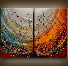 Original abstract MODERN art Contemporary oil PAINTINGS large red white black wall deco Free Shipping Modern Painting - ARTIST Nandita on Etsy, $329.00