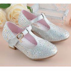 Silver Beaded T Strap High Heel Flower Girl Girls Pageant Dress Shoes SKU-133605
