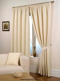 Waffle Natural Lined Ready Made Curtain Pair 46 X 54 Size