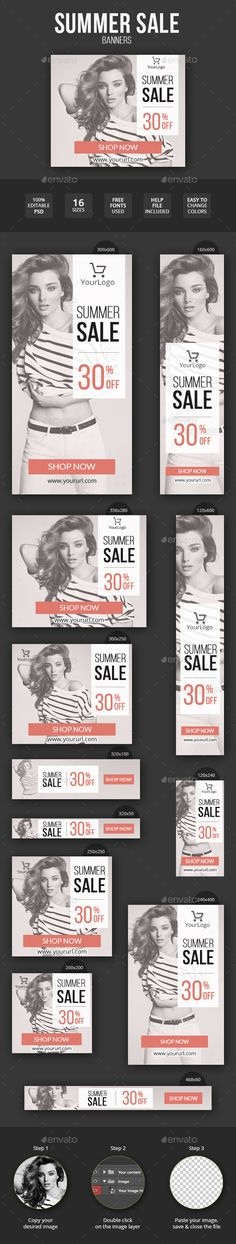 Summer Sale Fashion Banner Set - Banners & Ads Web Elements