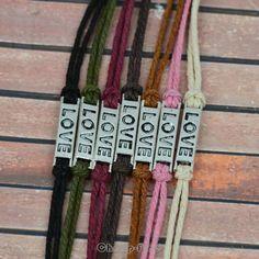 Love Symbol Silver Tone Pendant Charm Wax Rope Bangle DIY Friendship Bracelet | eBay