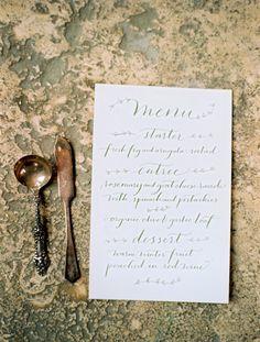 Victorian Wedding Place Setting {Laura Murray Photography} I love the elegantly simple script Wheat Wedding, Wedding Menu, Wedding Stationary, Wedding Paper, Elegant Wedding, Perfect Wedding, Wedding Ideas, Wedding Foods, Wedding Dinner