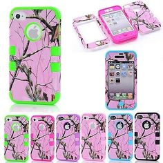 3 in 1 Mossy Oak Tree Pink Camo Phone Protector Case for Apple iPhone 4 4S | eBay