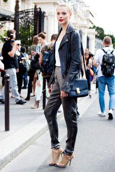 Shop this look on Lookastic:  https://lookastic.com/women/looks/biker-jacket-tank-skinny-pants-pumps-crossbody-bag/3005  — Navy Leather Crossbody Bag  — Charcoal Skinny Pants  — Tan Leather Pumps  — White Tank  — Black Leather Biker Jacket