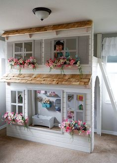 The story of this loft bed begins, as many projects do, with my wife exploring on Pinterest for ideas for our daughters bedroom. My wife Playhouse Bed, Indoor Playhouse, Diy Storage Stairs, Toddler Play Area, Toddler Rooms, Little Girls Playhouse, Trundle Bed With Storage, Toddler Bunk Beds, Bed With Slide