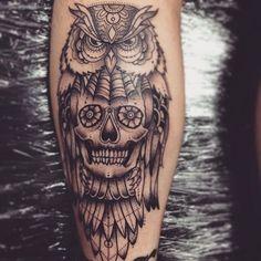 owl skull on the calf