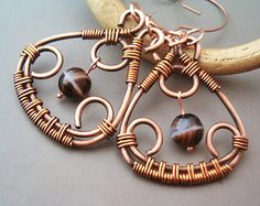 Wire Wrapped  Copper Earrings - Copper Jewelry - wire wrapped Earrings handmade