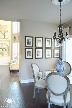 Sherwin Williams Perfect Greige in Kitchen Breakfast Nook