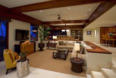 Tropical Living Room Design Ideas, Pictures, Remodel and Decor Sunk In Living Room, Open Space Living, Cozy Living Rooms, Open Plan Living, Home Living Room, Living Room Designs, Living Room Decor, Living Spaces, Dining Room