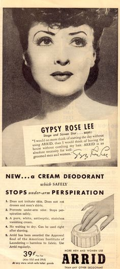GYPSY ROSE LEE Burlesque star/stripper/author/TV hostess 1940's ad for ARRID. (minkshmink)
